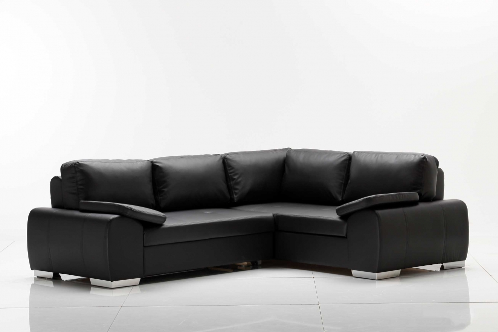 eila ecksofa eckcouch sofa couch ottomane rechts kunstleder schwarz 252x200 ebay. Black Bedroom Furniture Sets. Home Design Ideas