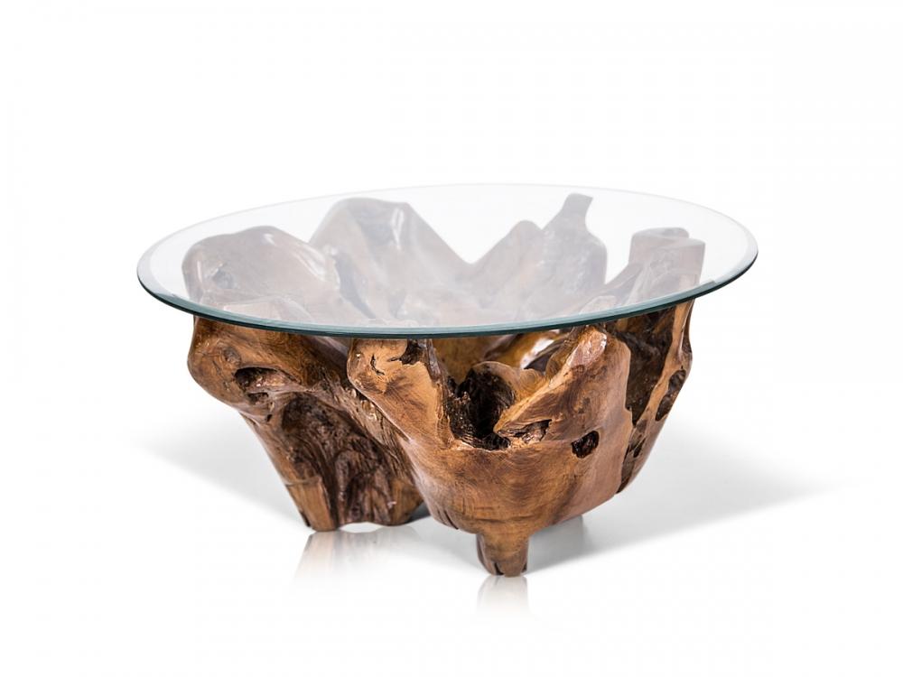 Teak couchtisch wurzelholz beistelltisch unikat wohnzimmer for Design couchtisch nature lounge teakholz mit runder glasplatte beistelltisch