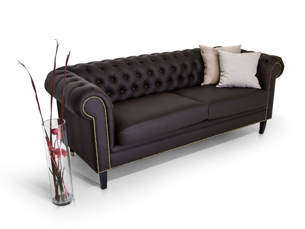 sofa santos 2 sitzer polstersofa couch kunstleder braun chesterfield zweisitzer ebay. Black Bedroom Furniture Sets. Home Design Ideas