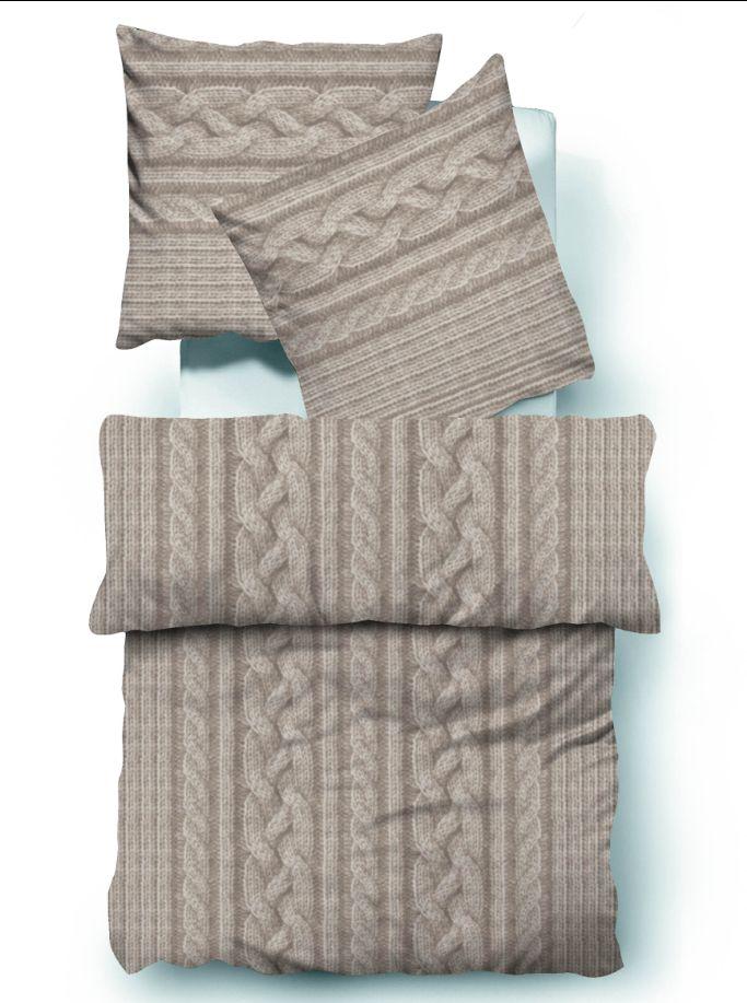 tom tailor biber bettw sche bett berzug baumwolle sand zopfmuster 135x200cm ebay. Black Bedroom Furniture Sets. Home Design Ideas