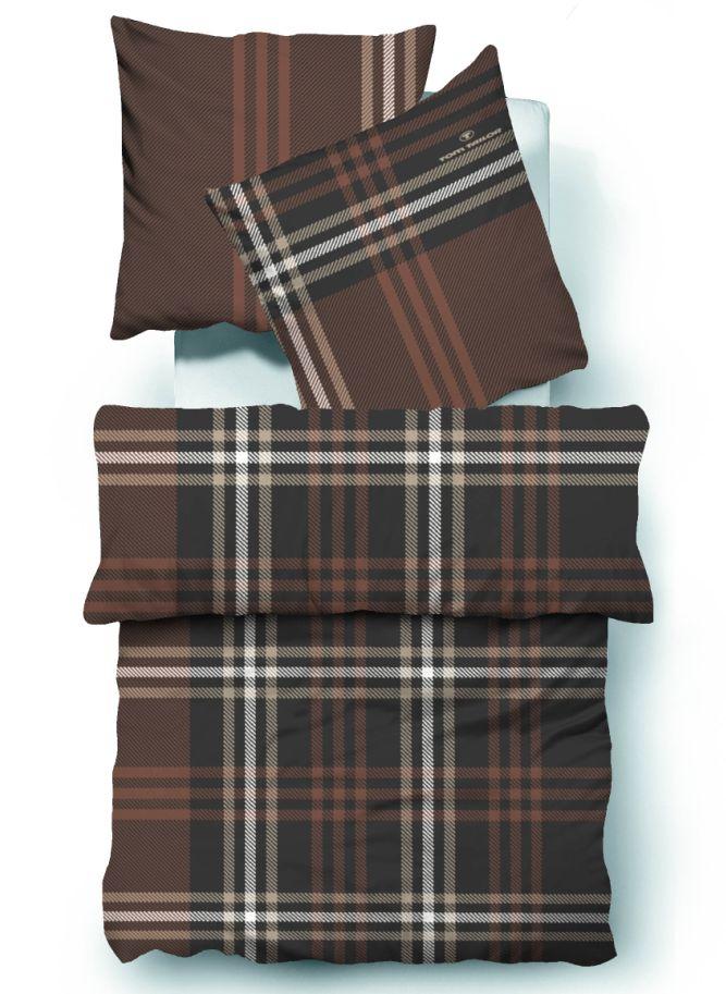 tom tailor biber bettw sche bett berzug baumwolle braun beige kariert 135x200cm ebay. Black Bedroom Furniture Sets. Home Design Ideas