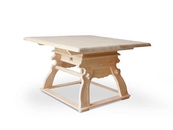 laura tisch esstisch massivholztisch massivholz fichte 120x120 cm mit schubfach ebay. Black Bedroom Furniture Sets. Home Design Ideas