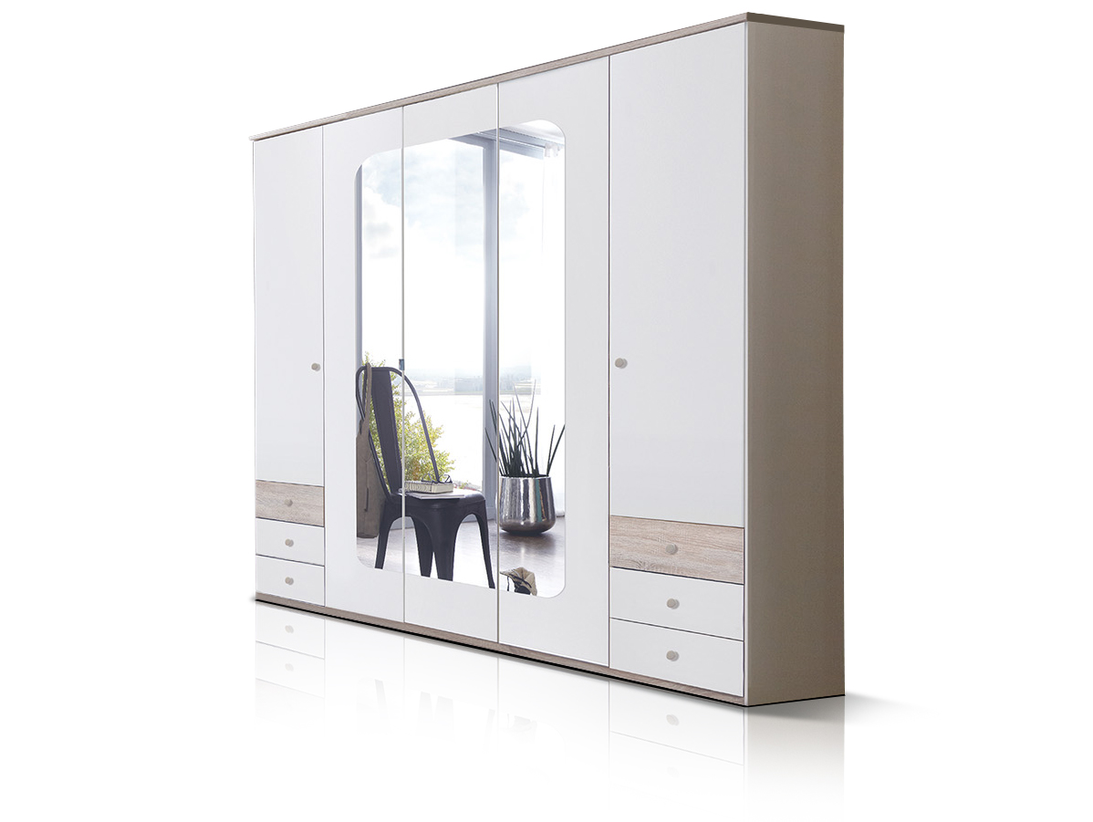 batida dreht ren kleiderschrank schrank dekor weiss eiche 225 cm breit 5 t rig. Black Bedroom Furniture Sets. Home Design Ideas