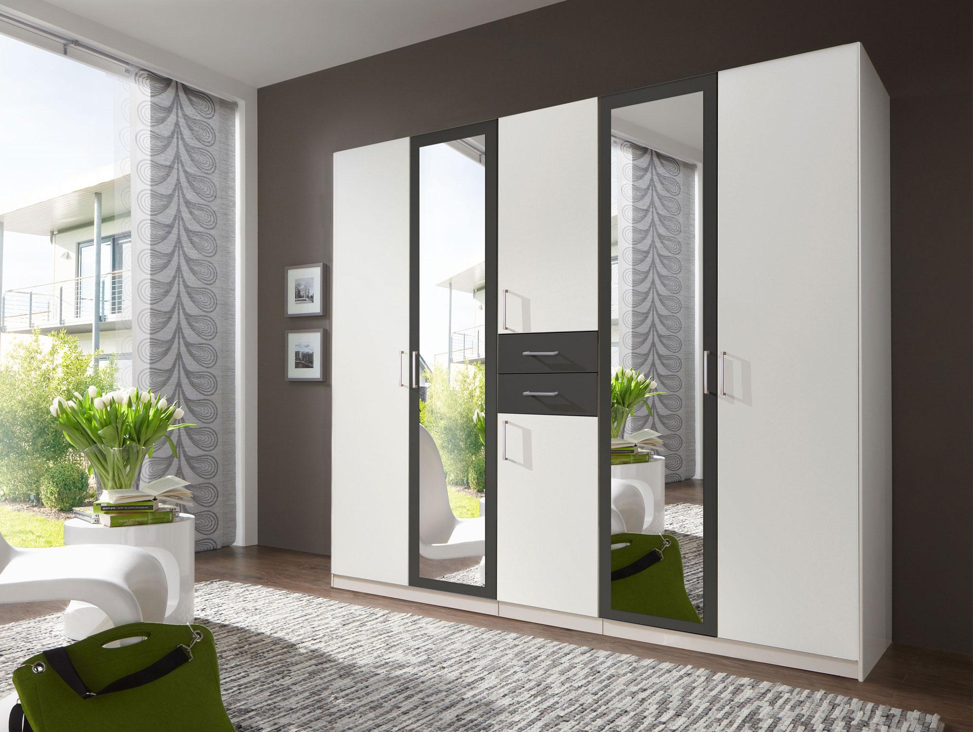 dustin dreht renschrank kleiderschrank schrank wei grau. Black Bedroom Furniture Sets. Home Design Ideas