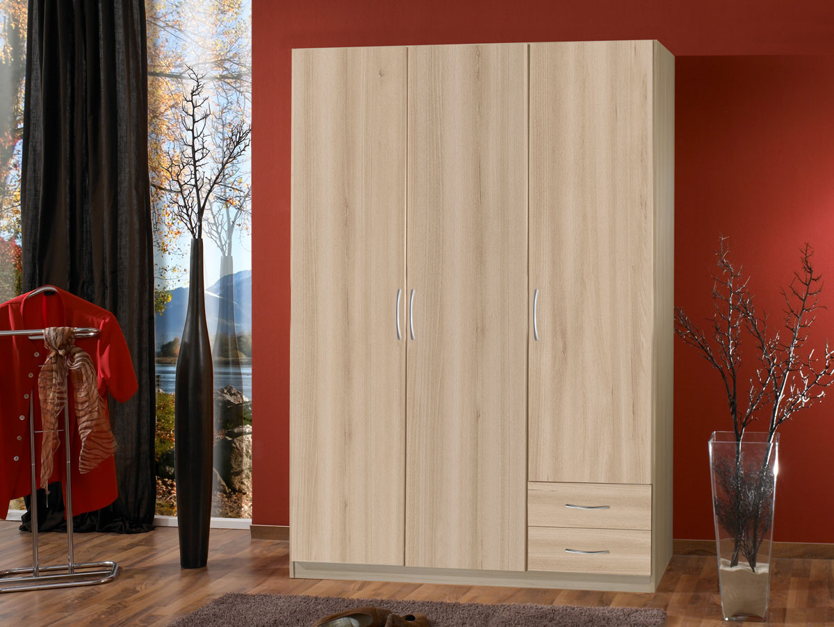 swing 3 t riger kleiderschrank schrank dekor buche edelbuche b135 h175 t58 cm ebay. Black Bedroom Furniture Sets. Home Design Ideas