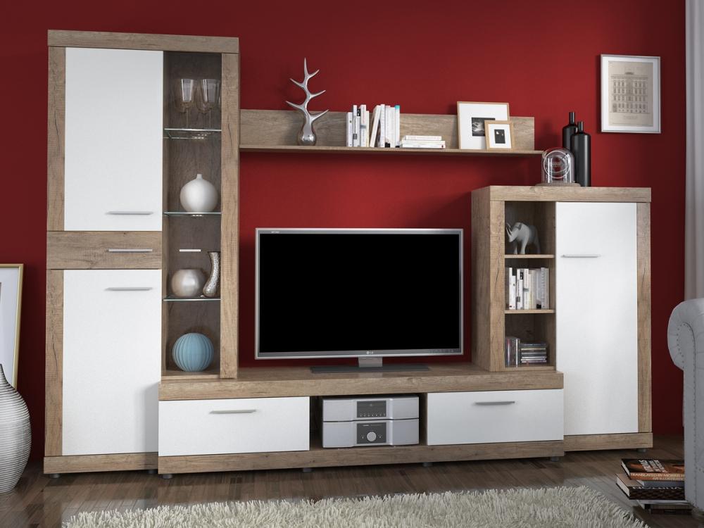 montana wohnwand anbauwand schrankwand tv wand wohnzimmer holz grau dekor wei. Black Bedroom Furniture Sets. Home Design Ideas