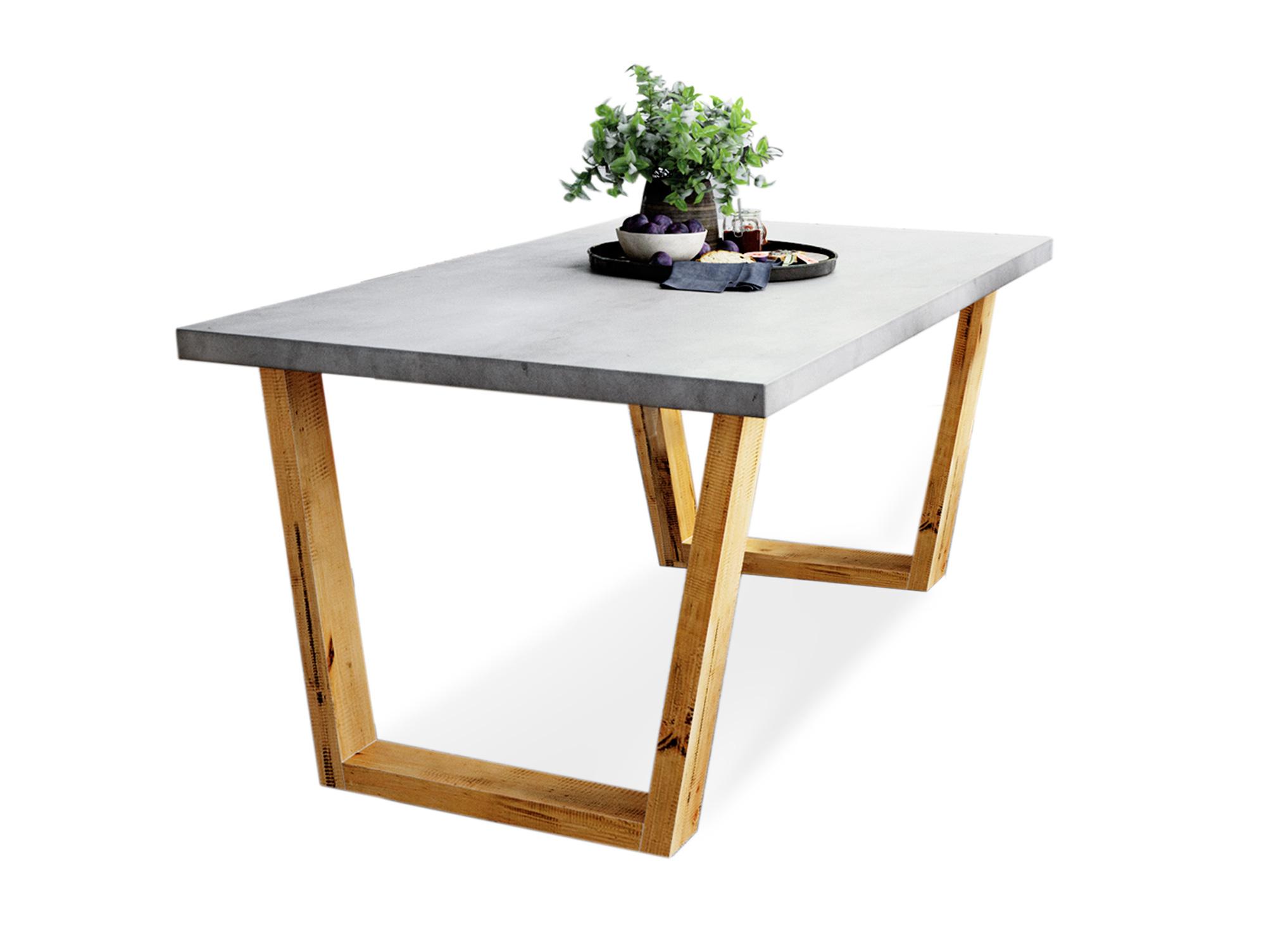 GLAY Esstisch Tisch mit Betonplatte Massivholzkufen Pinie massiv 200x100 cm   eBay