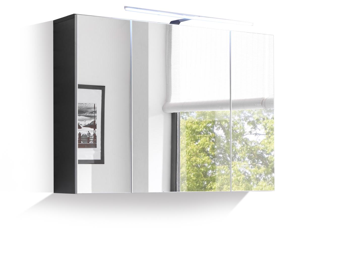 may badezimmer spiegelschrank inkl led spiegel badschrank badm bel wei grau ebay. Black Bedroom Furniture Sets. Home Design Ideas