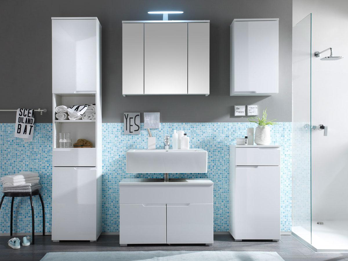 SANDRA 5-tlg. Badezimmer-Set Badmöbel Set WB-Unterschrank Regal Weiß ...