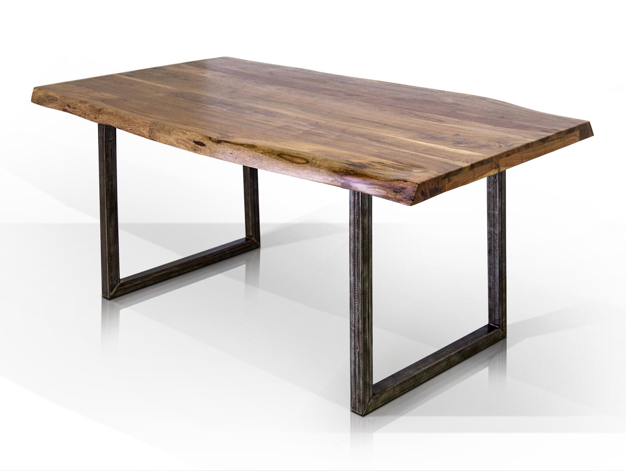 Esstisch gera esstisch mit baumkante tisch massivholztisch mit kufen akazie
