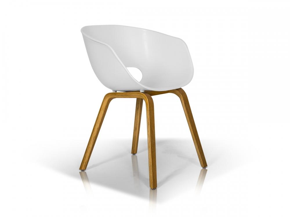 Stuhl Retro Chair Loft Industrial Design ABS Schale Weiß Beine Holz f Esszimmer