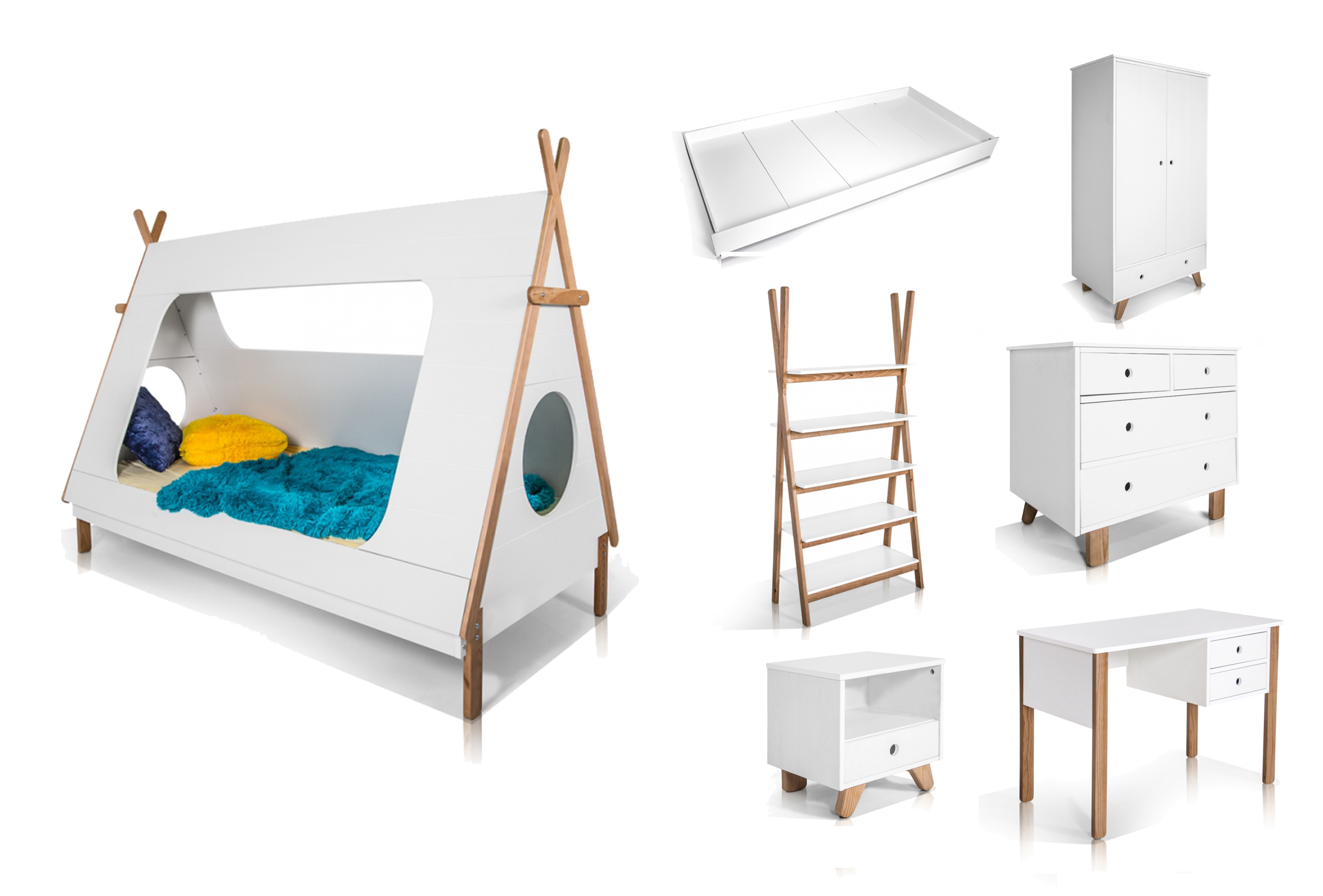 kinderzimmer m belprogramm indianer bett schrank schreibtisch wei w hlen sie ebay. Black Bedroom Furniture Sets. Home Design Ideas