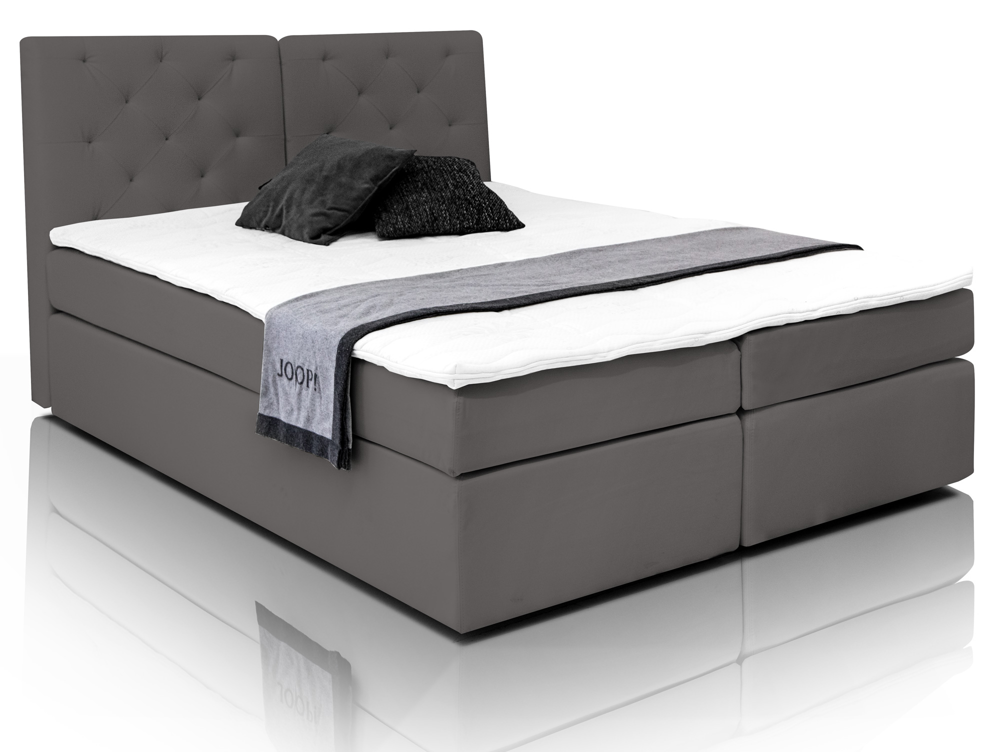 hotel bett boxspringbett anthrazit grau boxspring boxspringbetten webstoffbezug ebay. Black Bedroom Furniture Sets. Home Design Ideas