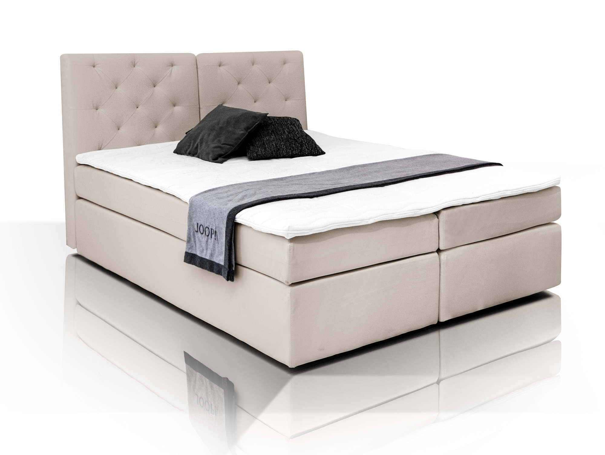 boxspringbett mit schmutzabweisendem bezug beige h3 160x200 doppelbett 7 zonen 4251215237521 ebay. Black Bedroom Furniture Sets. Home Design Ideas
