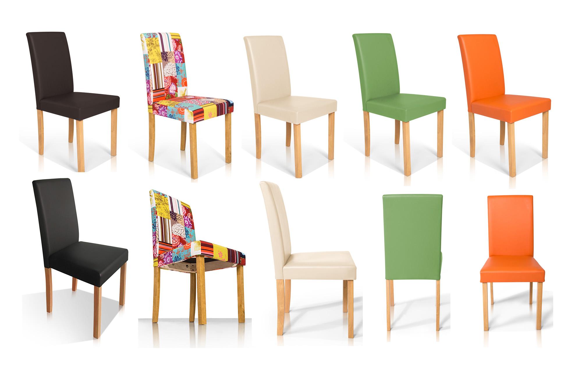 polsterstuhl st hle bill kunstleder esszimmerstuhl patchwork buche eiche massiv ebay. Black Bedroom Furniture Sets. Home Design Ideas