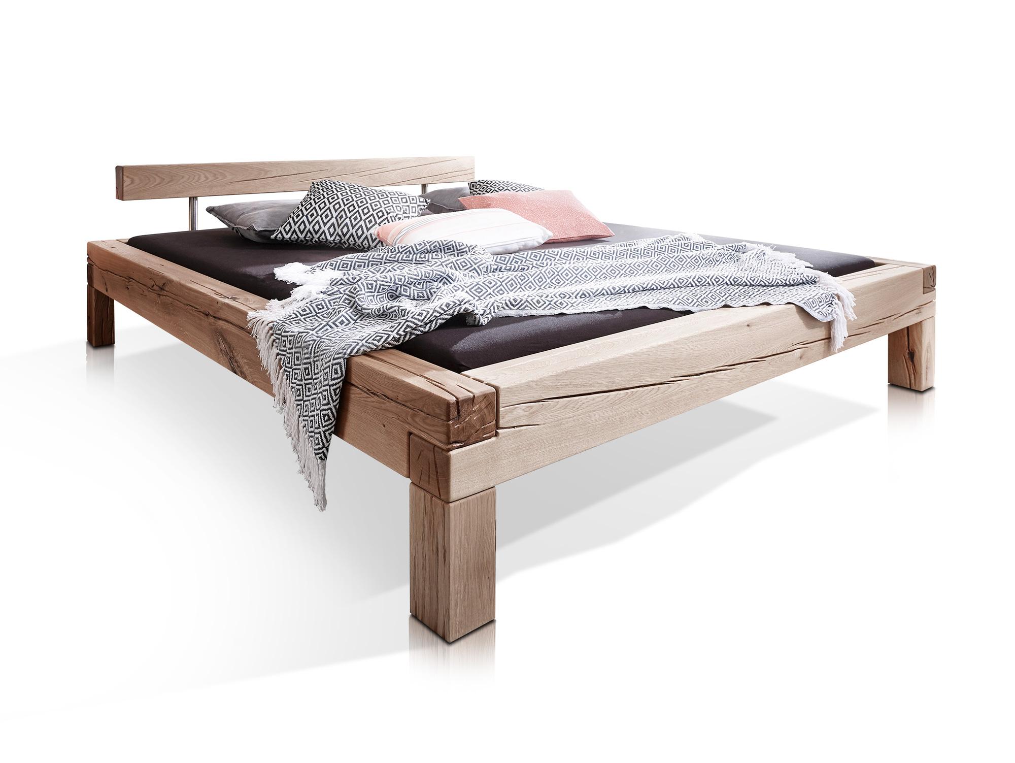 lukas massivholzbett doppelbett bett eiche hell massiv inkl kopfteil 180x200 ebay. Black Bedroom Furniture Sets. Home Design Ideas