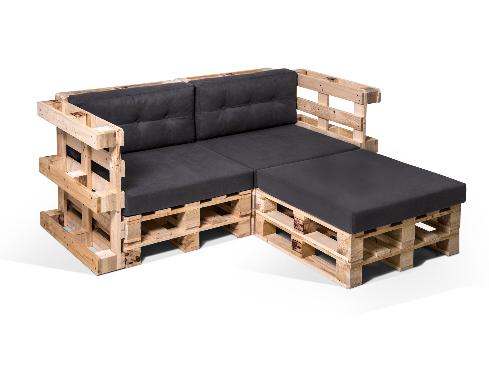 paletti ecksofa zweisitzer inkl auflagen paletten palettensofa fichte natur ebay. Black Bedroom Furniture Sets. Home Design Ideas