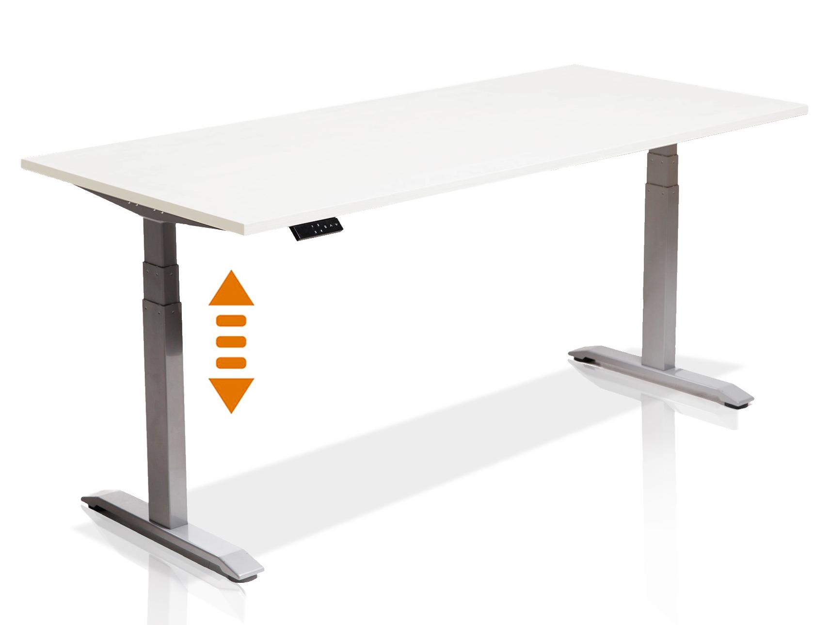 h henverstellbarer schreibtisch office one tisch 180x80 cm tischplatte wei ebay