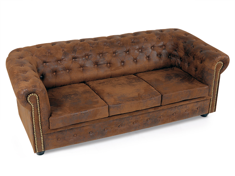 polstersofa big sofa 3 sitzer 3er couch chesterfield vintage microvelour braun ebay. Black Bedroom Furniture Sets. Home Design Ideas