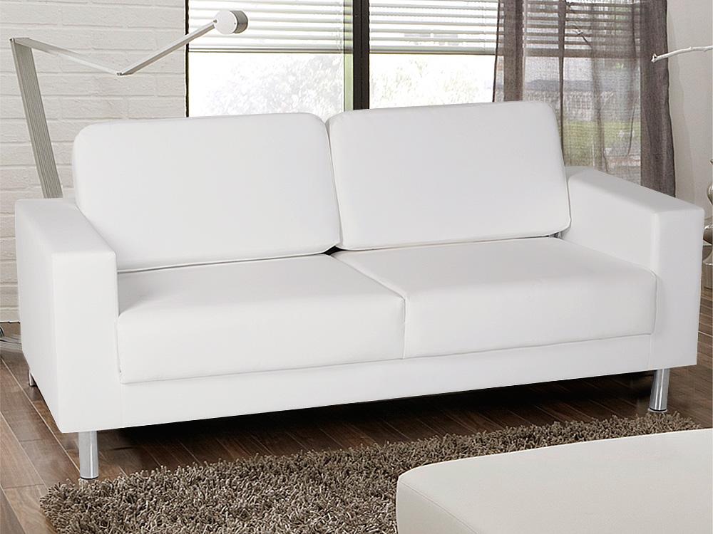 3 Sitzer Polstersofa Sofa Couch Susi Kunstleder Weiß Füße Metall