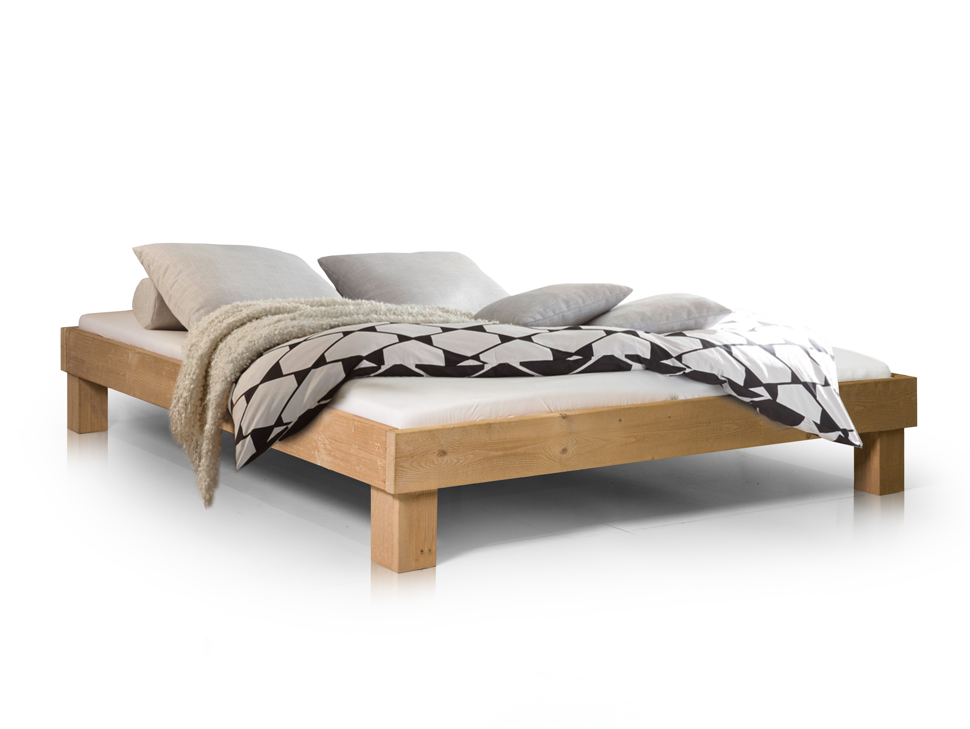 pumba doppelbett futonbett 160x200 massivholz fichte eichefarbig ohne kopfteil ebay. Black Bedroom Furniture Sets. Home Design Ideas
