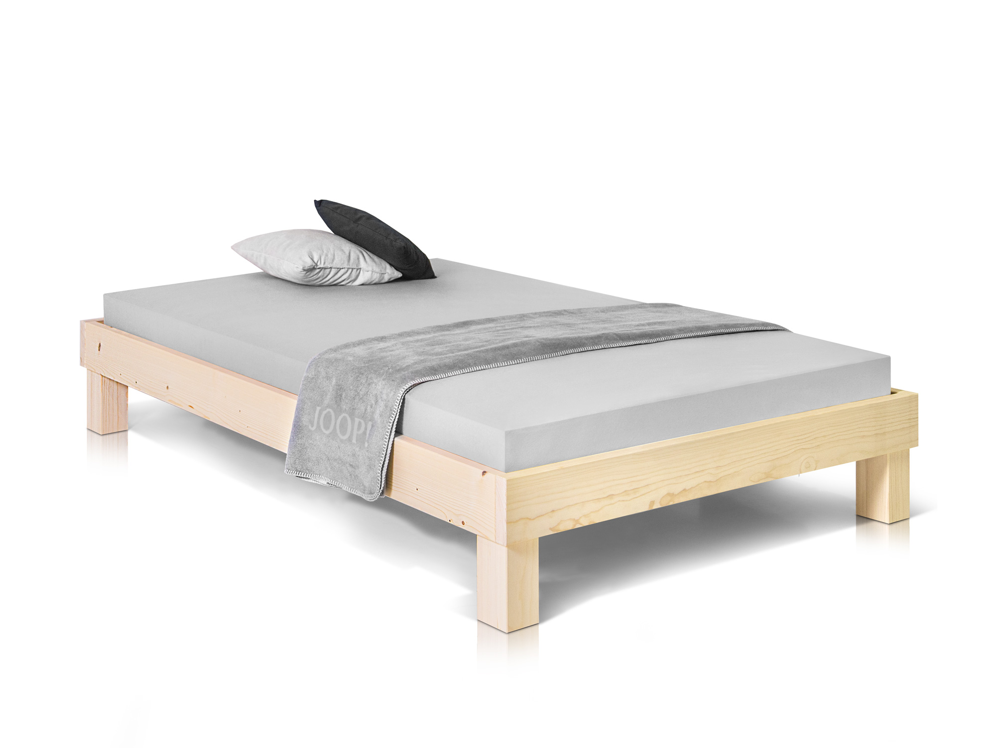 pumba singlebett futonbett bett 90x200 massivholzbett fichte natur ohne kopfteil ebay. Black Bedroom Furniture Sets. Home Design Ideas