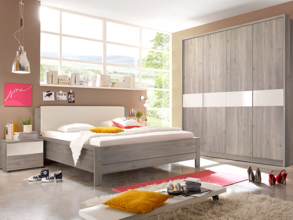 INGO Schlafzimmer Schrank Bett Nachtkommoden Dekor Silbereiche Weiß m. Drehtüren