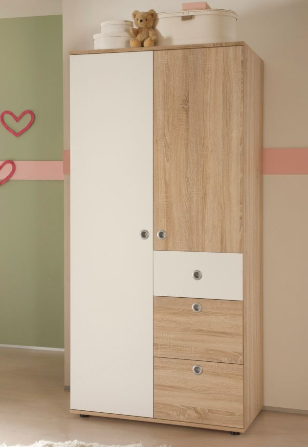 tina 2 t riger kleiderschrank f babyzimmer kinderzimmer eiche sonoma dekor wei ebay. Black Bedroom Furniture Sets. Home Design Ideas