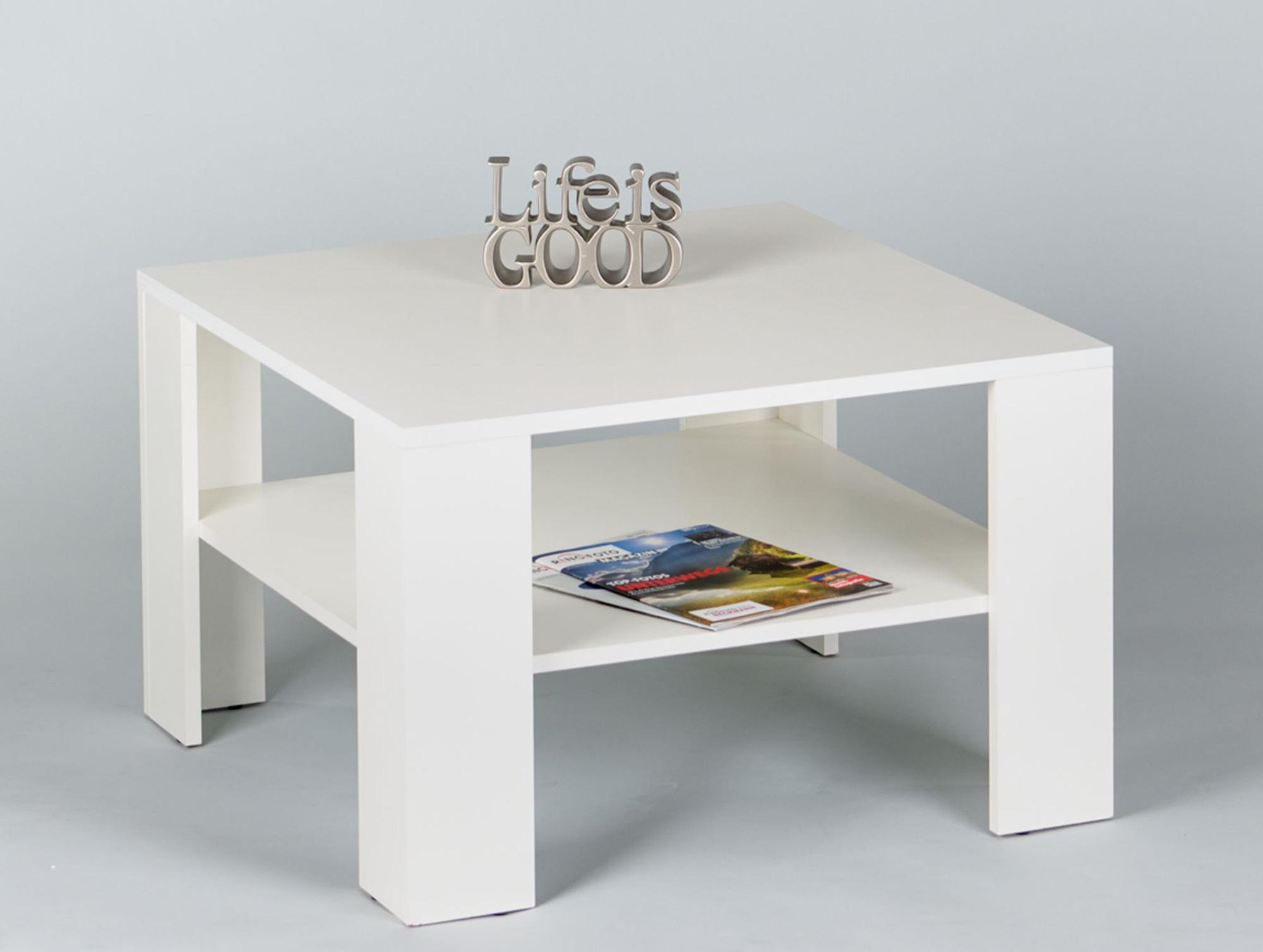 janne g nstiger couchtisch wohnzimmertisch tisch 70x70 dekor wei weiss ablage ebay. Black Bedroom Furniture Sets. Home Design Ideas