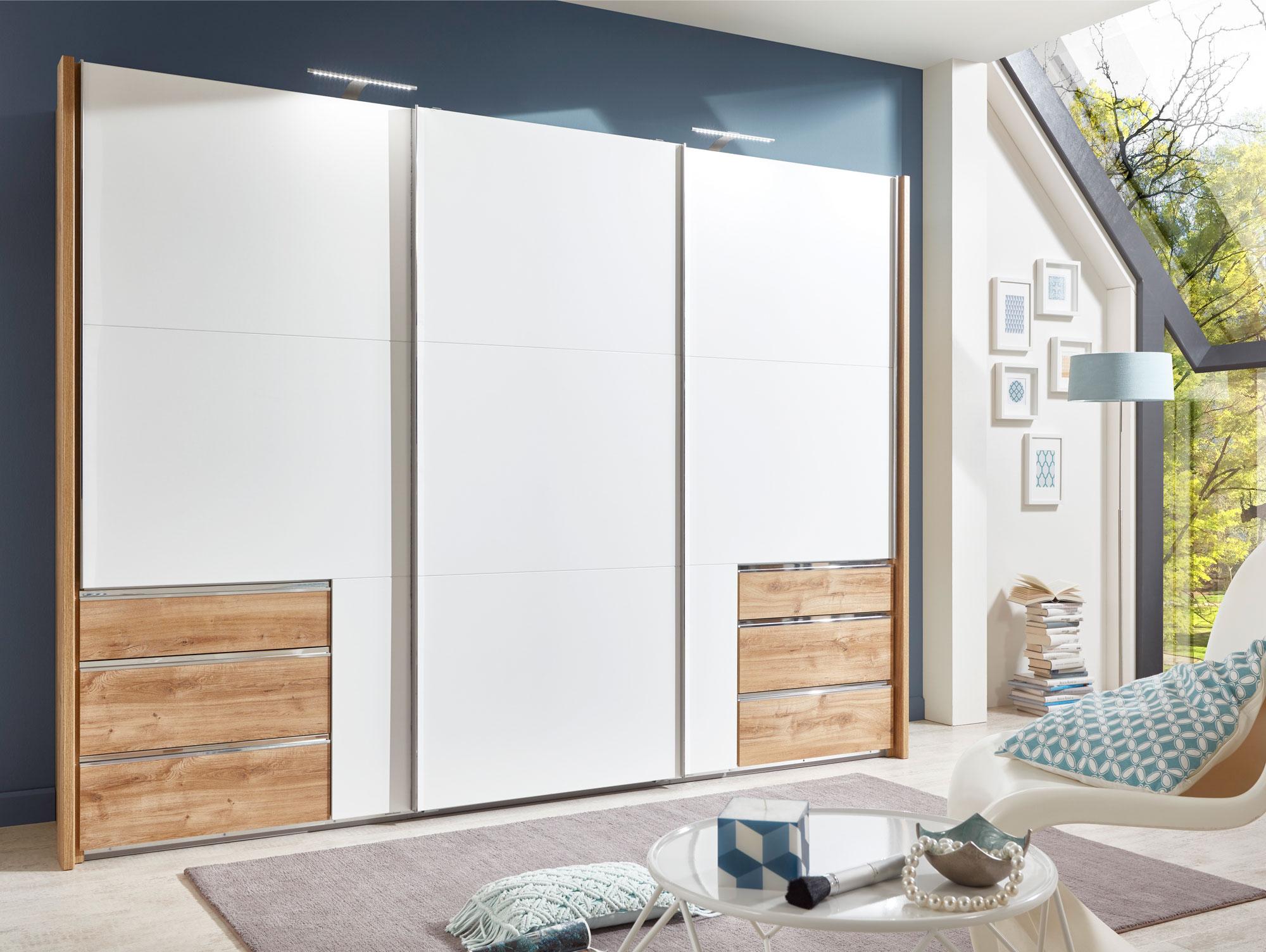 schwebet renschrank kleiderschrank b300 cm lakota 3 t riger schrank wei eiche ebay. Black Bedroom Furniture Sets. Home Design Ideas
