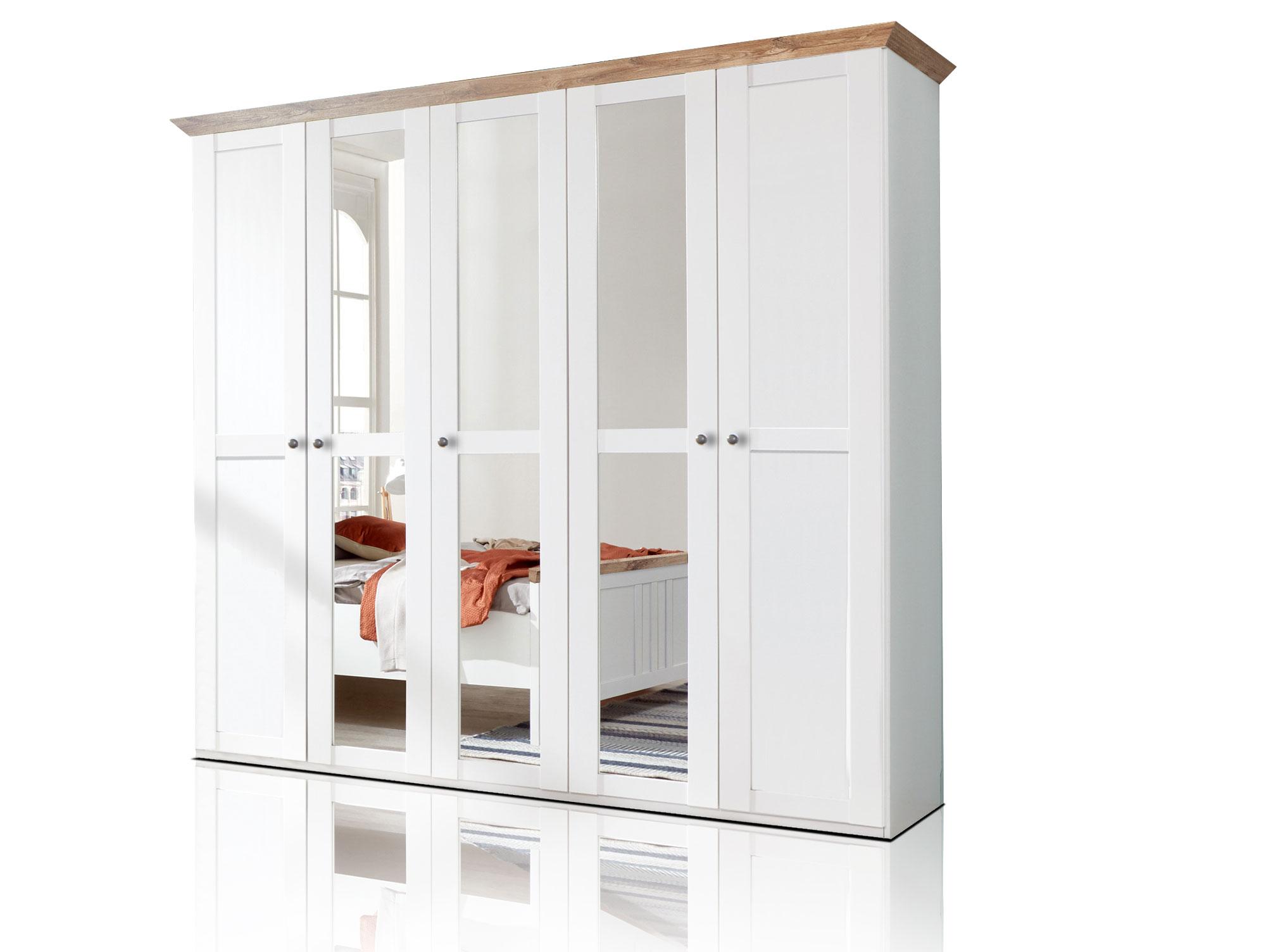 oldenburg 5 t riger kleiderschrank schrank mit dreht ren dekor wei eiche b225 ebay. Black Bedroom Furniture Sets. Home Design Ideas