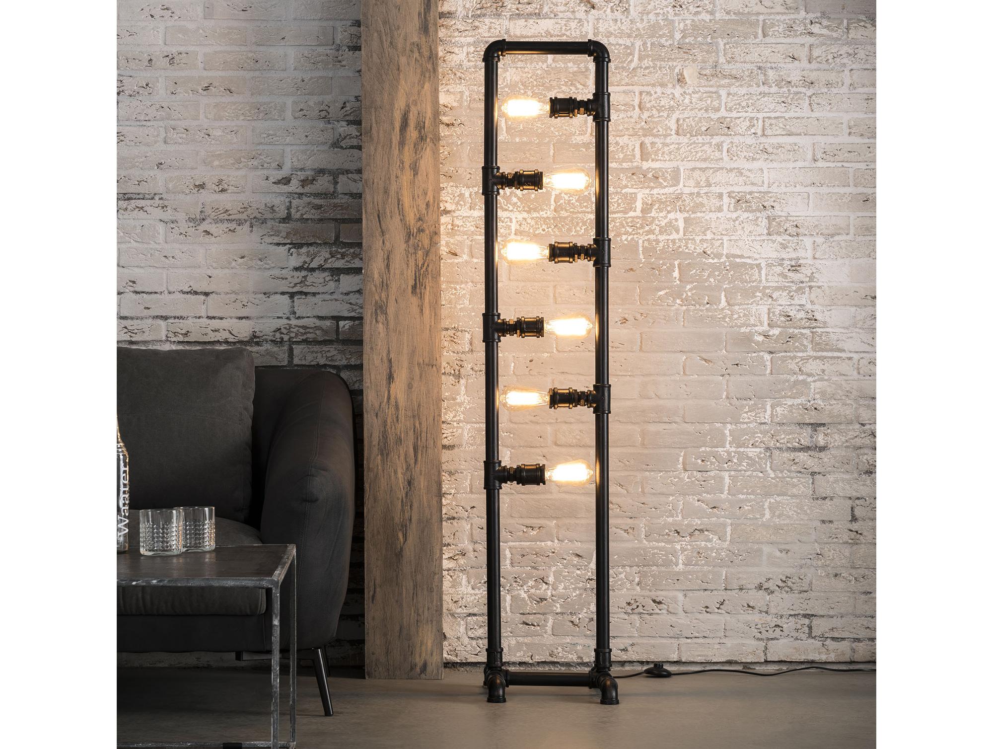 Wunderbar Stehlampe Industrial Referenz Von Brit | Tube | Metall Schwarz Passend