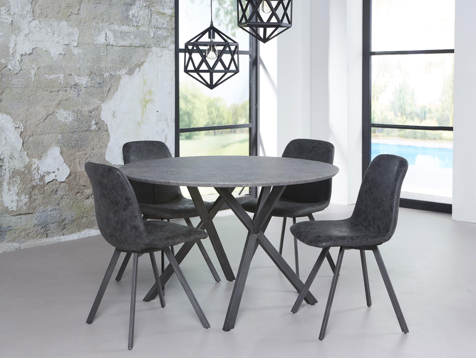 julian runder esstisch esszimmertisch tisch 120 cm beton dekor gestell schwarz ebay. Black Bedroom Furniture Sets. Home Design Ideas